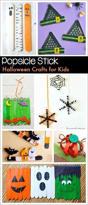 Halloween Crafts for Kids Using Popsicle Sticks: Make spider webs, pumpkins, witch hats, and more with craft sticks!