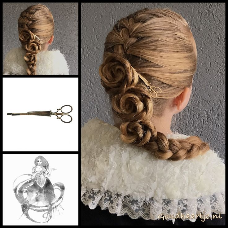 French braid with three flowers and a vintage style hairclip from the webshop www.goudhaartje.nl