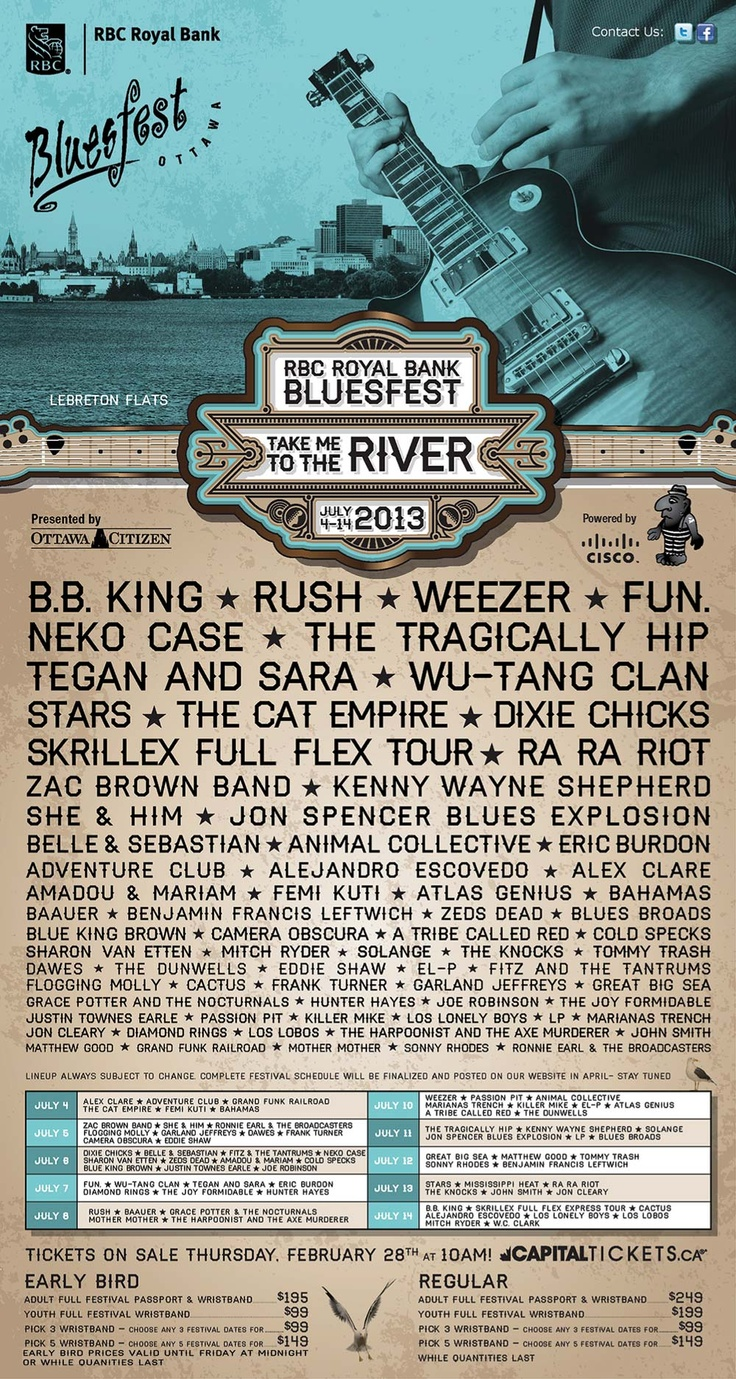 RBC Royal Bank Bluesfest 2013 Lineup was released today Feb.27/2013.
