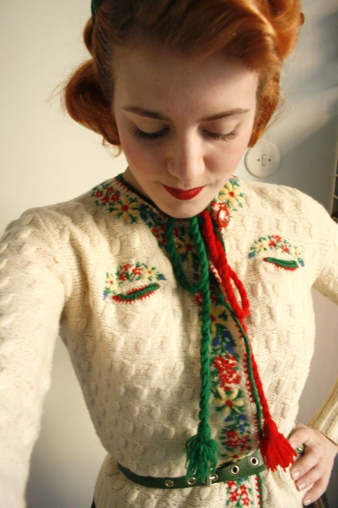 fun photos of 'the yodel cardigan,' found in a Stockholm vintage shop
