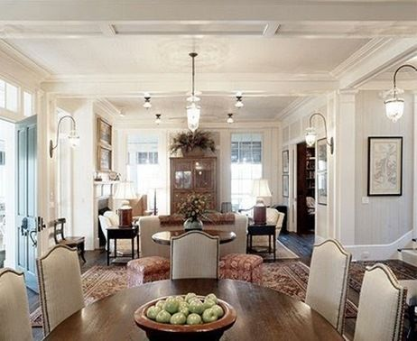 living room/dining room: Living Room Dining, Dining Rooms, Living Rooms, Round Table, House, Space, Room Dining Room, Dining Tables
