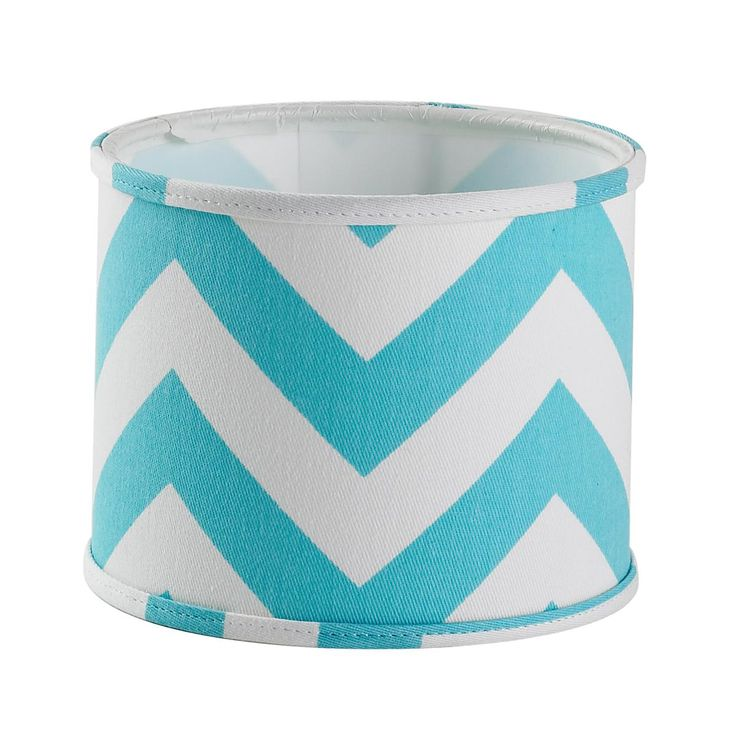 "5"" Chevron Stripe Drum Chandelier Shade in turquoise and white!"