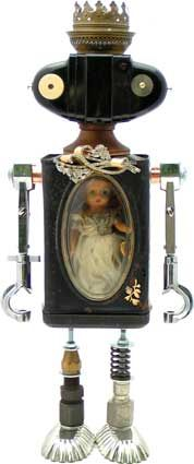 Blanche DuBot |  Principal Components: Coffee bean grinder bin, camera, test tube clamps, doll, oil lamp part, tartlet tins, brooch, hydraulic fittings, dress clip