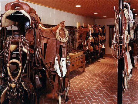 Interior Design Tips for Barns: Love it! Check out this sweet western tack room.