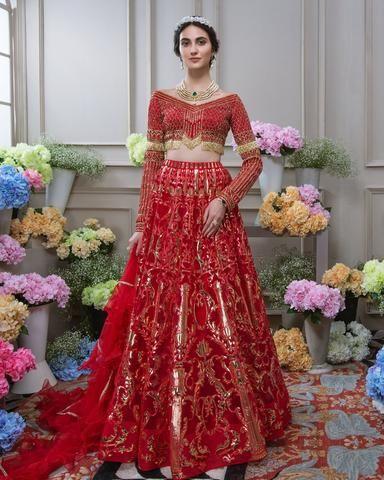 cab4e6ec7c Deep Red Wedding Walima Dress in 2019 | Art wear | Lehenga, Walima ...