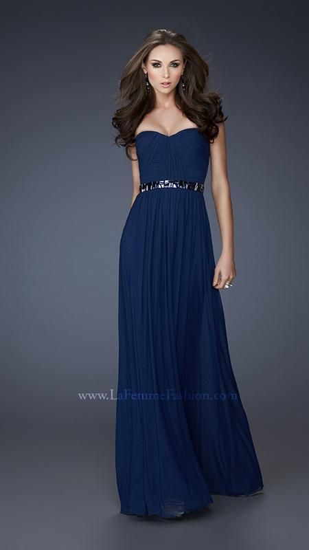 La Femme 18257 - navy blue bridesmaids dress