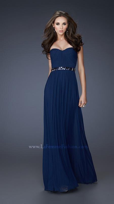 La Femme 18257 - navy blue bridesmaids dress