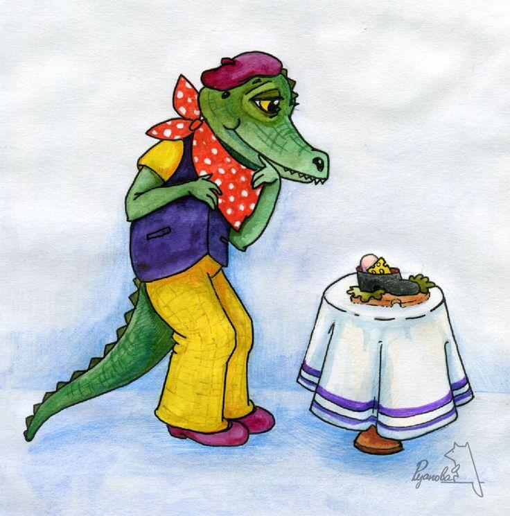 """Это крокодил Тотоша. Он художник. Его новый арт-объект - идеальный бутерброд.Разумеется,Тотоша его съест,как его предшественник в прошлом веке ел газету... А еще это может быть иллюстрацией к сказке Чуковского """"Телефон"""""""