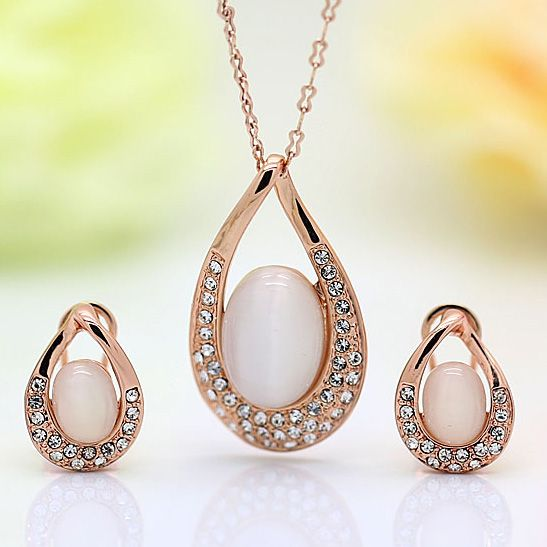 DCM Free Shipping   Fashion Jewelry Wholesale Rose Gold Color opal Necklace And Earring Jewelry Set for women