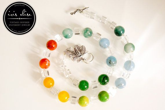 Lifesaver Necklace: Brightly Colored Stone & Glass #etsy #handmade #iriselise