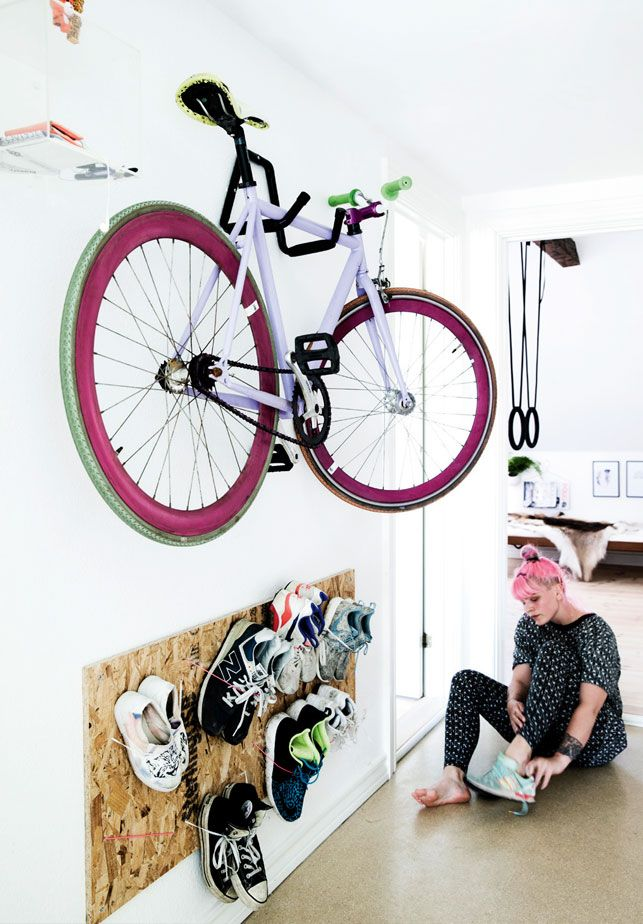A danish home with amazing style - see more pictures form this om on the blog. Storage for shoes in the hallway.