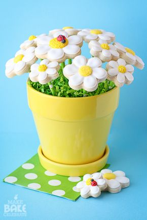 Daisy Cookie Bouquet. This tutorial has some really great tips for making a bouquet of cookies.