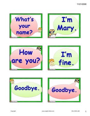 English for Kids,ESL Kids Dialogue Flashcards- self-introduction and asking for name