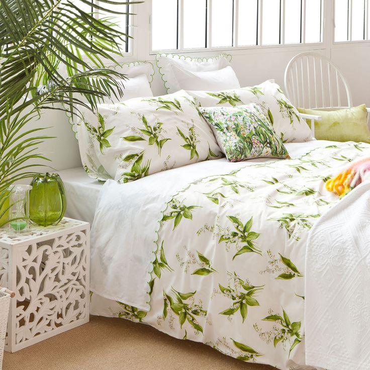 БЕЛЬЕ ПОСТЕЛЬНОЕ С ЦВЕТОЧНЫМ ПРИНТОМ - Зеленый - Seasonal colours   Zara Home Российская Федерация