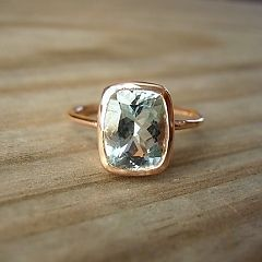 Rose Gold and Aquamarine Ring by Madelynn Cassin