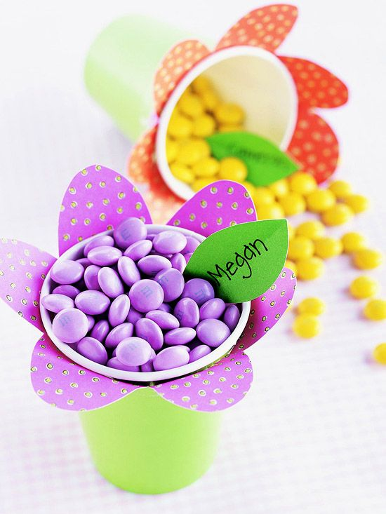 Flower Power Candy Cups        Use brightly colored store-bought cups and scrapbook papers to create these cheerful candy cups that kids will love. Insert leaf-shape name tags to transform this cute Easter craft into easy place markers.