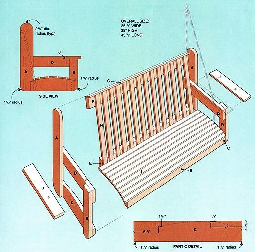 Porch swing patterns free woodworking projects plans for Building a wooden swing
