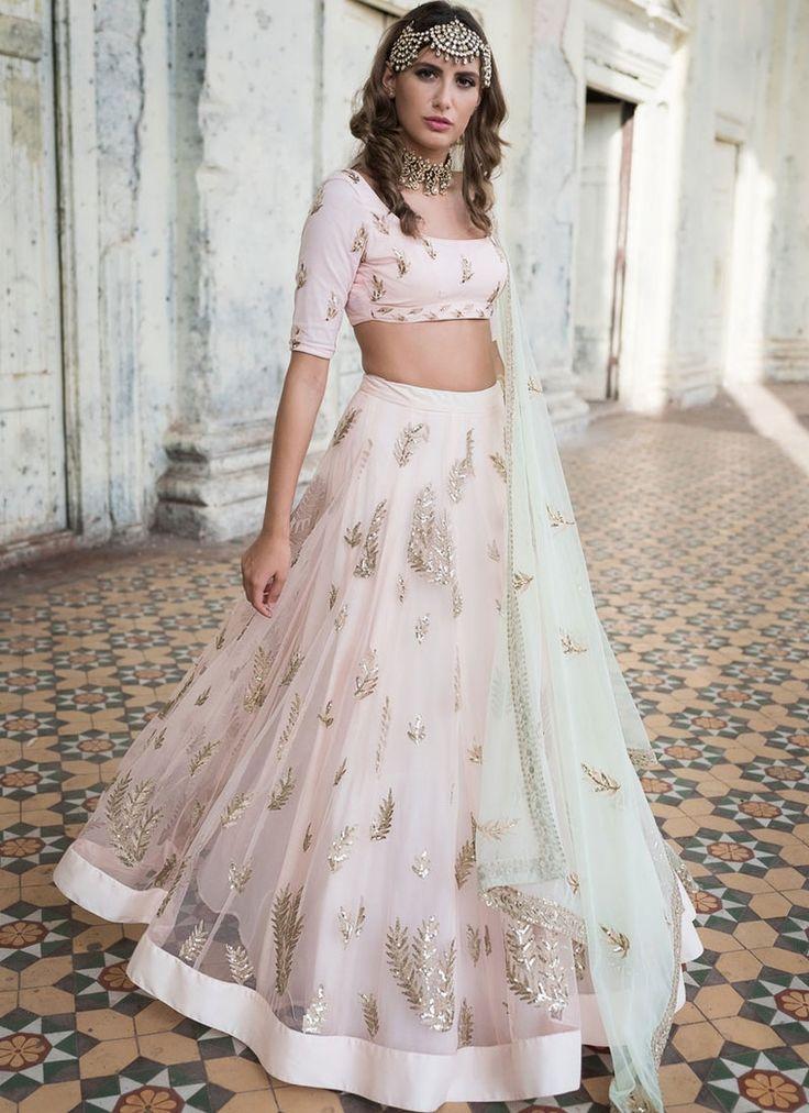 Shop Color Light Pink Color Net Lehenga Choli Online