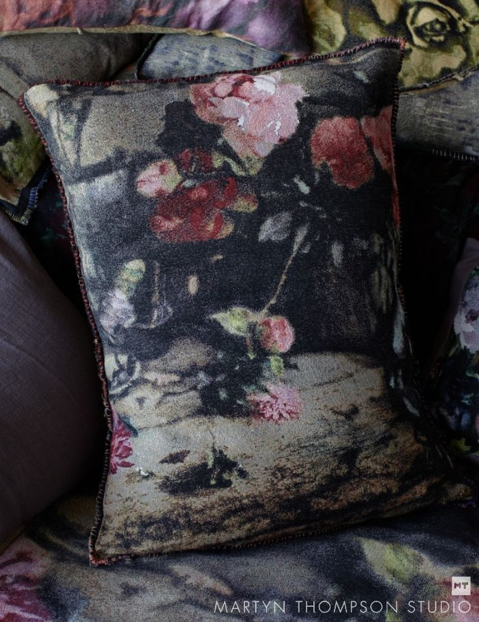 'After Prague' Tapestry and linen pillow #martynthompsonstudio #peonies #jacquard