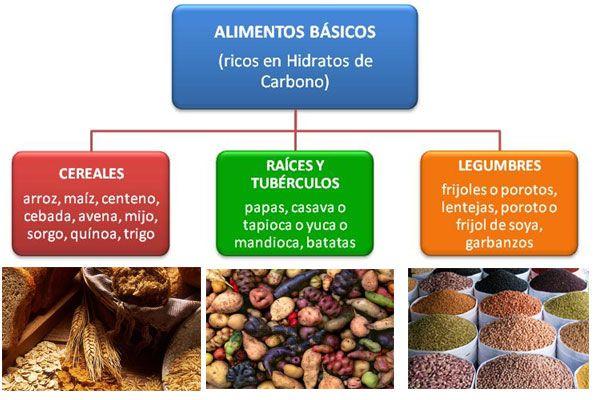 alimentos basicos ricos hidratos de carbono