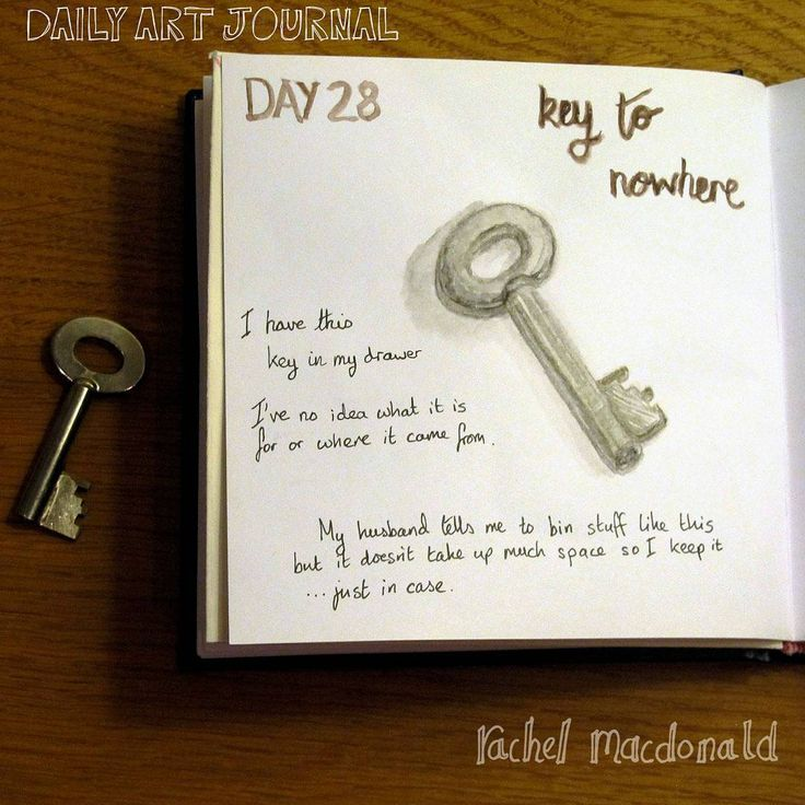 Daily Art Journal - Day 28 - The key to nowhere. Just a little key that I have in my 'odds and ends' drawer. I don't know where it came from or what it is for but I keep it ...just in case I work out what it is for.