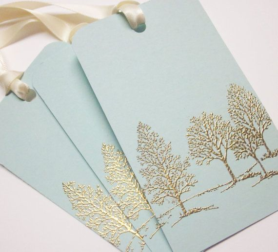 handmade Christmas gift tags .. Gold embossed gift tags ... As Lovely as a tree ... elegant look ... satin ribbon ties ... Stampin' Up!
