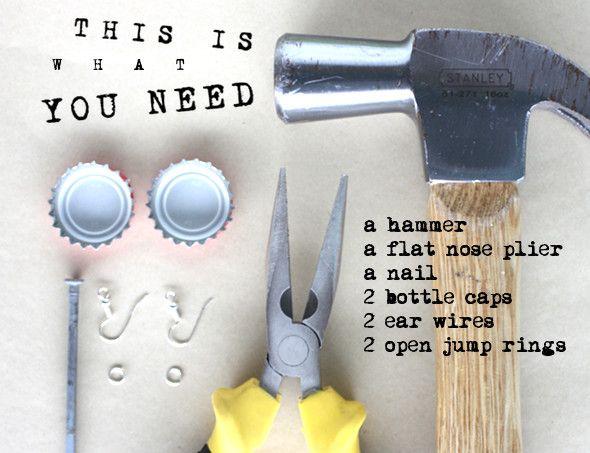 Bottle Cap Earrings - Morning Creativity