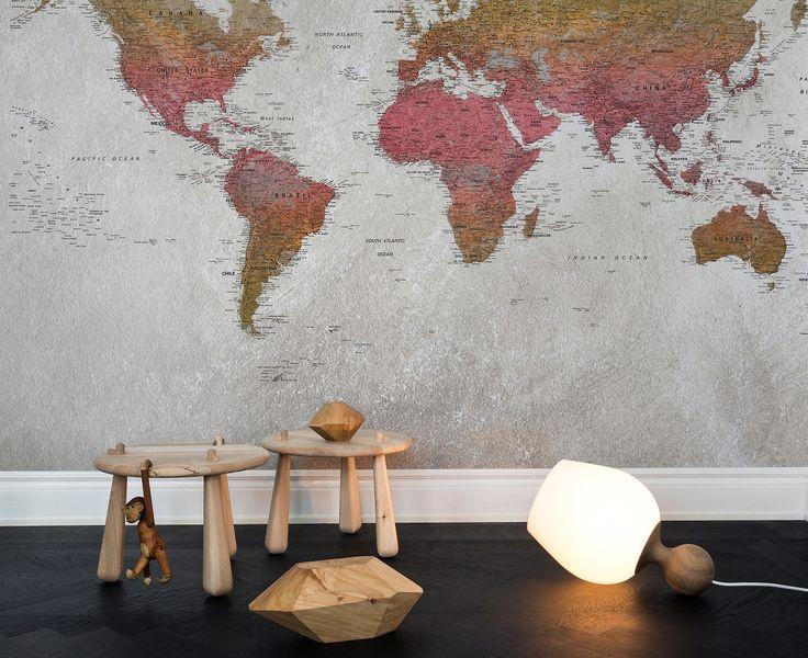 31 best wereldkaarten en plattegronden als behang - maps as, Deco ideeën