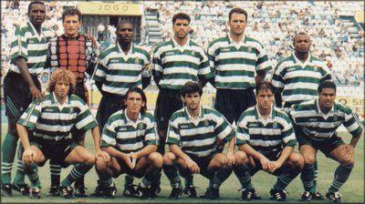 SPORTING 1995-96 Marco Aurélio,Luis Vasco,Oceano,Naybet,Vujacick e Amunike Cadete,Sá Pinto,Nelson,Pedro Martins e Assis.