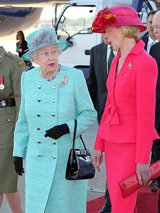 Queen Elizabeth II enjoys a chat with Ms Quentin Bryce (in pink) who is Australia's Governor General, a representative of Queen Elizabeth II for Australia.