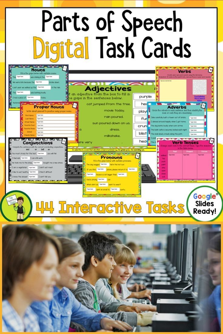 These Parts of Speech Grammar Task Card Activities feature 40 interactive Google slides for Grade 3 and Grade 4. Educational Technology. Mobile Learning. Google Resource. Digital Classroom. Featuring nouns, pronouns, proper nouns, verbs, adverbs, verb tenses, adjectives and conjunctions. Suitable for Grade Three and Grade Four. 3rd Grade, 4th Grade, 5th Grade Parts of Speech. Great for your 4th grade, 5th grade, or 3rd grade classroom.#DigitalTaskCards #PartsofSpeech