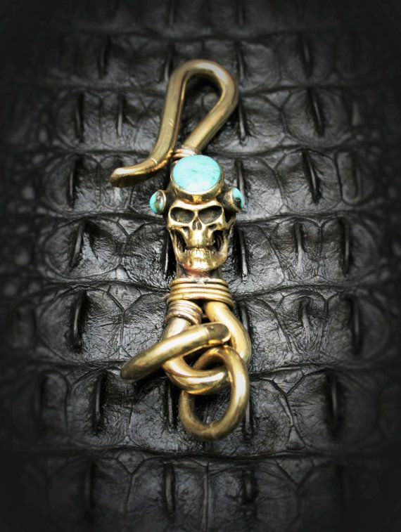 Skull Brass Hook Key Chain/Key Holder Spooky Steampuck by Mygoth (GBK007-2)