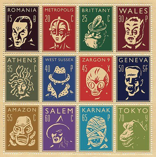 creatures: Adammccauley, Horror Stamps, Horror Movies, Art, Monsters Stamps, Adam Mccauley, Stamps Collection, Postage Stamps, Halloween