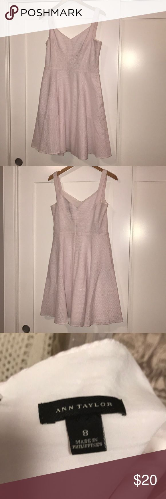 Light pink and white striped dress This is a super cute dress for church, as a wedding guest, Easter, date night, or work. Only been worn once!! Ann Taylor Dresses Midi