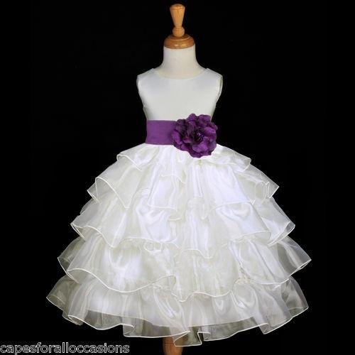 Ivory Tiered Organza Plum Purple Sash Flower Girl Dress