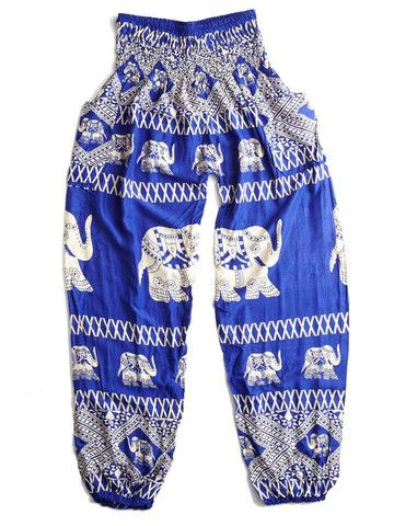 Old Bet Blue Elephant Harem Pants by The Elephant Pants - Old Bet was an early American circus elephant owned by Hachaliah Bailey. On July 24, 1816, she was shot and killed while on tour near Alfred, Maine by a farmer who thought it was sinful for poor people to waste money on a traveling circus. Old Bet's owner responded by building a three story memorial called the Elephant Hotel which now serves as a town hall.