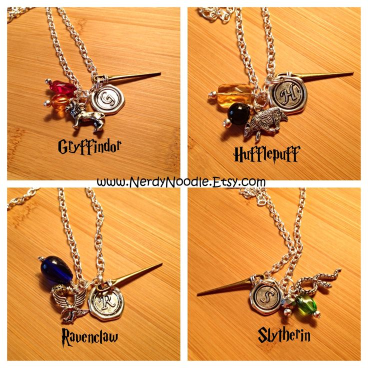 Harry Potter inspired Hogwarts Houses Charm Necklace - Gryffindor, Hufflepuff, Ravenclaw, Slytherin by NerdyNoodle on Etsy https://www.etsy.com/listing/170773887/harry-potter-inspired-hogwarts-houses