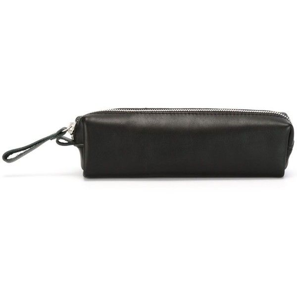 Qwstion Zipped Pencil Case (210.655 COP) ❤ liked on Polyvore featuring home, home decor, office accessories, black, leather pen pouch, black leather pencil case, zippered pen case, black pencil case and zipper pencil pouch
