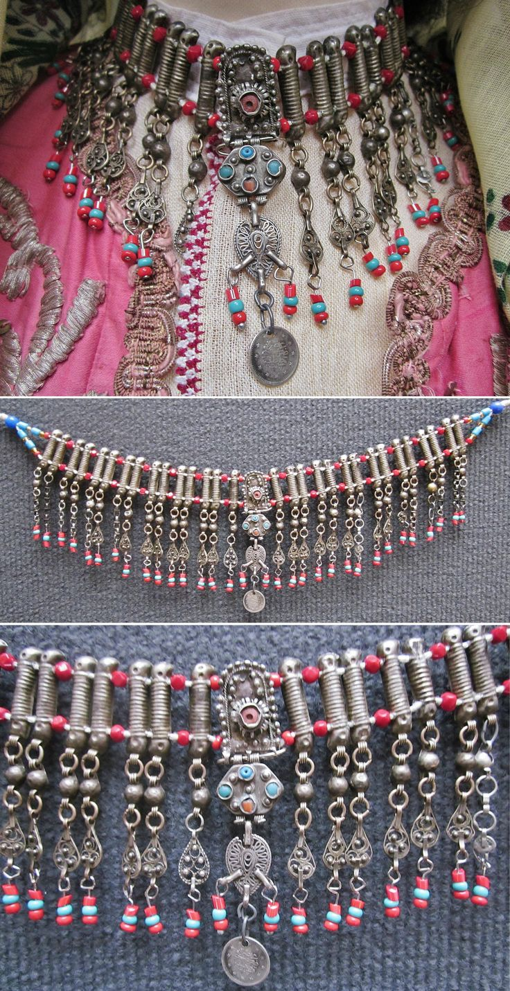 Traditional 'gerdanlık' (tight-fitting necklace) from NW Anatolia.  Ca. late 19th century.  Silver alloy, turquoises, coral, glass beads (+ some plastic ones at both ends), a silver late-Ottoman coin.  Purchased in Bursa.  These necklaces-with-beads are the poor-people-version of the much richer necklaces (with only silver, originating from wealthier households) that are on exhibit in museums. (Inv.n° müç026 - Kavak Costume Collection - Antwerpen/Belgium).