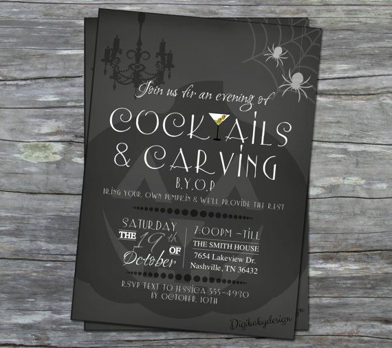 Stinkin cute!!!!  printable Pumpkin Carving and Cocktails halloween invitations