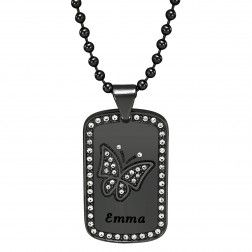 Stainless Steel Black Tone Women's High Polished Butterfly Dog Tag Personalized Pendant - $60.00