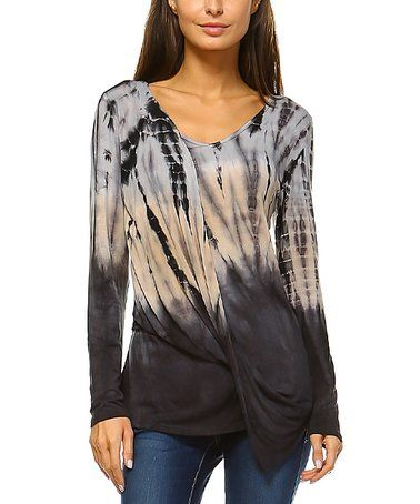 Beige & Charcoal Tie-Dye Ombré Twist-Front Long-Sleeve Top #zulily