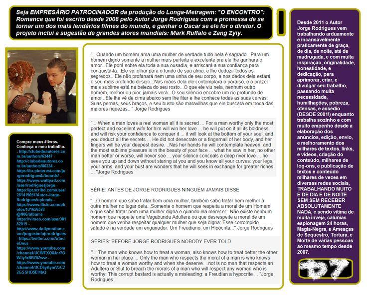 CONHEÇA, APOIE, E SEJA PATROCINADOR DE TODO O MEU TRABALHO COM #ARTE DE TODOS OS TIPOS E GÊNEROS (#Livros, #Escritos, #Projetos, #Roteiros, #Videos, #Manuais, #Leituras, #Escritos, #Frases, #Estórias, #Romance, Arte Marcial, #Quadrinhos, #Curiosidades, #Biografias, #VidaSentimental, #Deus, #Filmes) e siga meus #canais, redes sociais, e websites. UM TRABALHO IMENSO!  #Contribua comigo: CAIXA ECONÔMICA Ag: 0811 Conta: 15091-7 São 7 anos trabalhando bastante, de dia e de noite neste imenso…