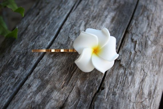 Plumeria Frangipani Hair Clip Hawaiian Flower Bobby by DRaeDesigns, $4.00