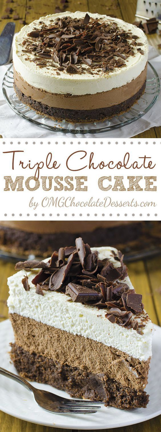 TRIPLE CHOCOLATE MOUSSE CAKE   Food And Cake Recipes