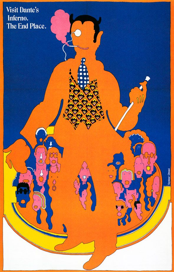 SEYMOUR CHWAST POSTER FOR THE PUSH PIN GRAPHIC NO. 52, 1967 – FROM THE PUSH PIN GRAPHIC BY SEYMOUR CHWAST, CHRONICLE BOOKS, 2004. // #madmen This poster hung on Roger Sterling's wall in the season finale of Mad Men