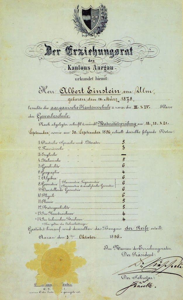 La nota de calificaciones de Albert Einstein ¿un genio desde pequeño?