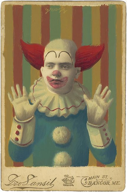 """Bozo"" - mixed media on antique cabinet card, Alex Gross"