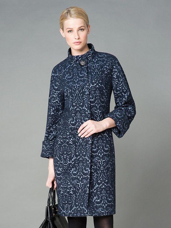 Пальто женское цвет серо-синий, пальтовая ткань, артикул 1013551p10067
