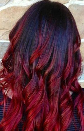Coloration ombré hair rouge